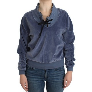 Cavalli Blue velvet cotton sweater