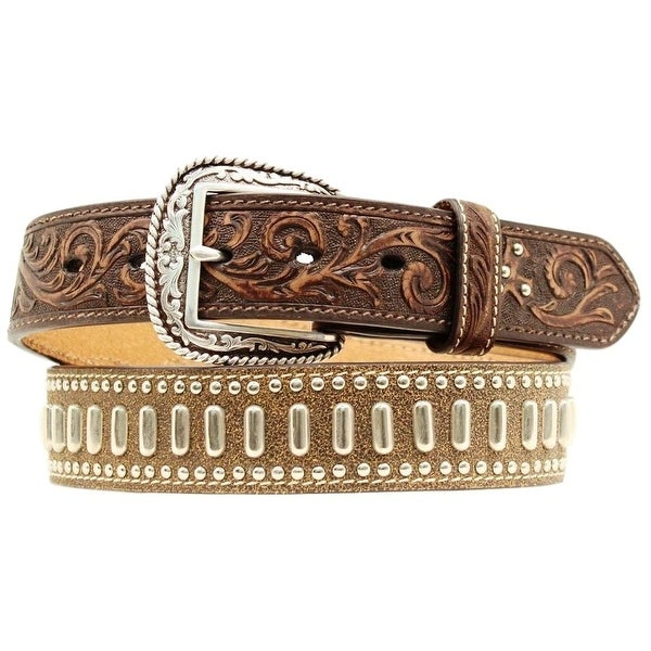 Ariat Western Belt Mens Tooled Cross Studs Dark Brown
