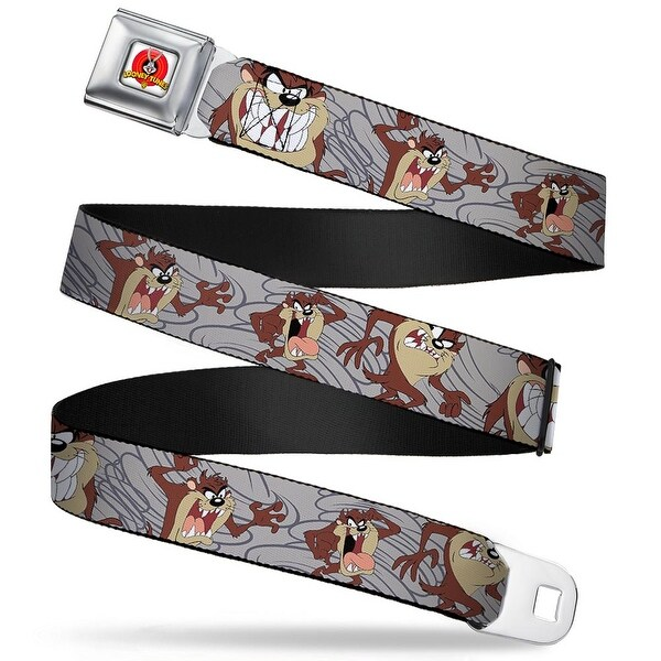 Looney Tunes Logo Full Color White Tasmanian Devil Expressions Gray Swirl Seatbelt Belt