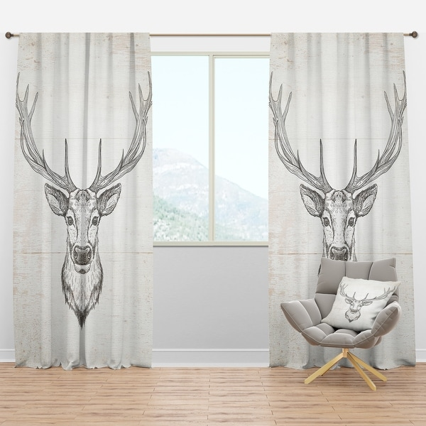 Designart 'Deer Wild and Beautiful IV' Farmhouse Blackout Curtain Panel. Opens flyout.
