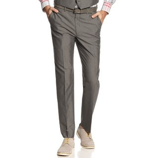 M151 New York Slim Fit Flat Front and Hemmed Dress Pants Grey 30 x 34