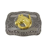 Chrome Plated Golden Horse Head Western Belt Buckle