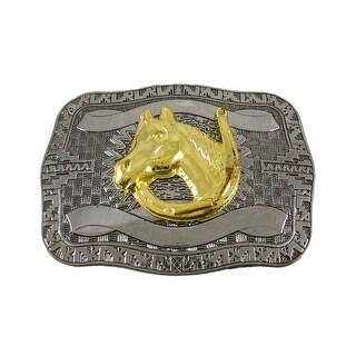 Chrome Plated Golden Horse Head Western Belt Buckle