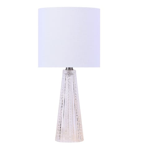 "16"" Glass Lamp with Brushed Nickel Accents & Off-White Linen Drum Shade"