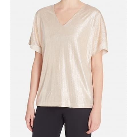 Catherine Malandrino Gold Womens Size Large L Short Sleeve Blouse