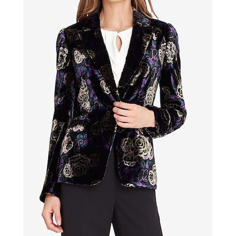 Tahari ASL Black Purple Women's Size 2 Velvet One Button Blazer