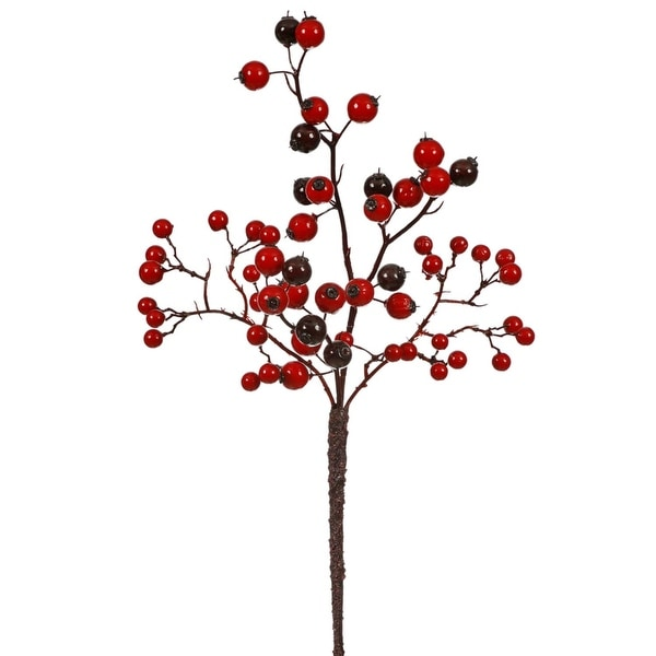 "13"" Red and Burgundy Mixed Berry Outdoor Artificial Christmas Spray Pick"