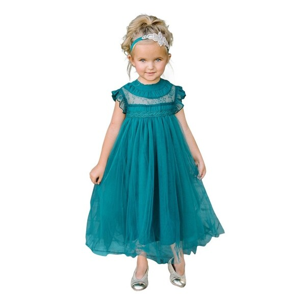 Think Pink Bows Baby Girls Hunter Green Lace Adrianna Flower Girl Dress 1Y
