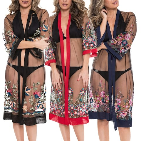 Women's Kimono Summer Embroidered Floral Lightweight Top Cover Beachwear Dress - One Size