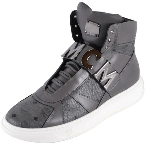 MCM Men's Grey Leather Visetos Logo High Top Sneakers Shoes W/Plaque