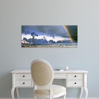 Easy Art Prints Panoramic Images's 'Windmill and Rainbow, Mojave National Preserve, California, USA' Premium Canvas Art