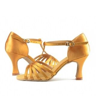 Sansha Adult Light Tan Satin Woven T-Bar Juanita Ballroom Shoes Womens