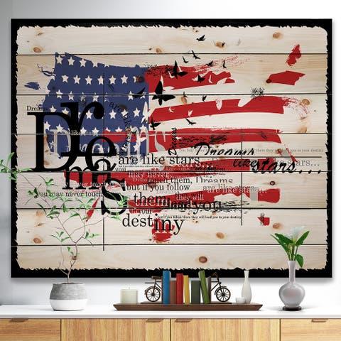 Designart 'Vintage Fashion USA Flag' Map Print on Natural Pine Wood - Red
