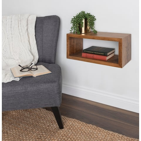 Kate and Laurel Holt Open Cubby Wooden Floating Wall Shelf