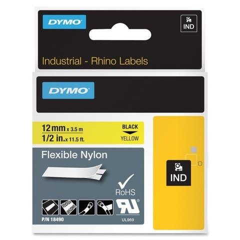 Dymo 18490 dymo rhino 1/2in x 11.5ft, yellow flexible nylon labels