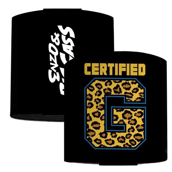 "Enzo & Big Cass Certified G Logo Black Blue Leopard Gold Elastic Wrist Cuff 3.0"" Wide"