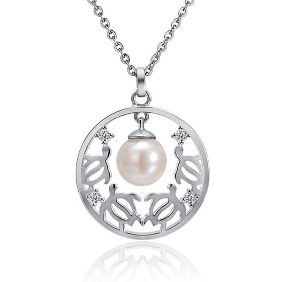 "Circular Honu Pearl Necklace Sterling Silver Pendant 18"" Chain"