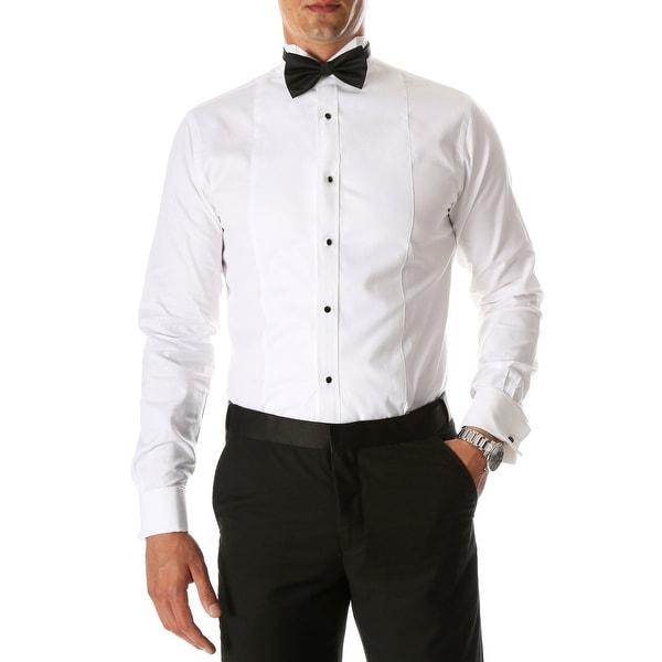 Mens Rome White Slim Fit Pique Wing Tip Collar Tuxedo Shirt with Bib
