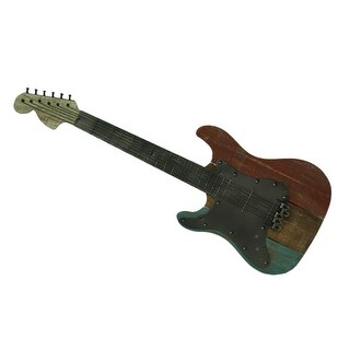 40 Inch Long Metal and Wood Guitar Decorative Wall Hanging