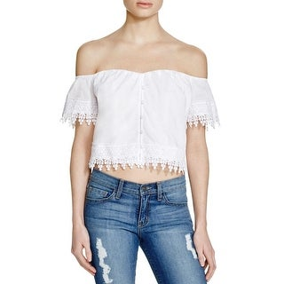 Guess Womens Emma Crop Top Off-The-Shoulder Eyelet