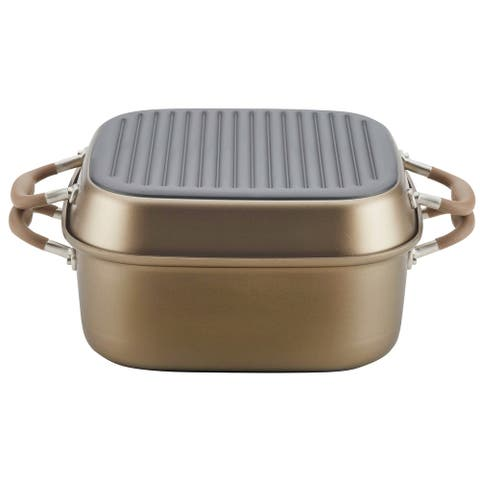 Anolon Advanced Nonstick 2-in-1 Deep Square Grill Pan and Square Roaster, 11-Inch