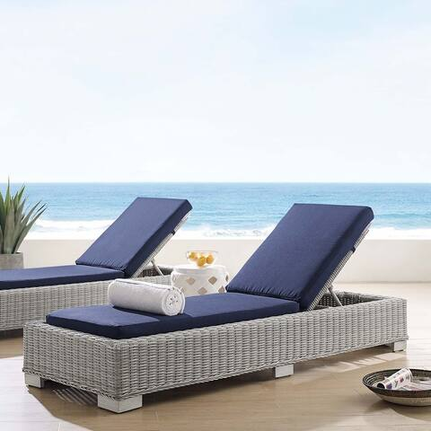 Conway Sunbrella Outdoor Patio Wicker Rattan Chaise Lounge