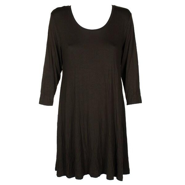 814ff68b4ba Style Co Petite Burgundy Long Sleeve A-Line Scoop Neck Swing Dress PXL