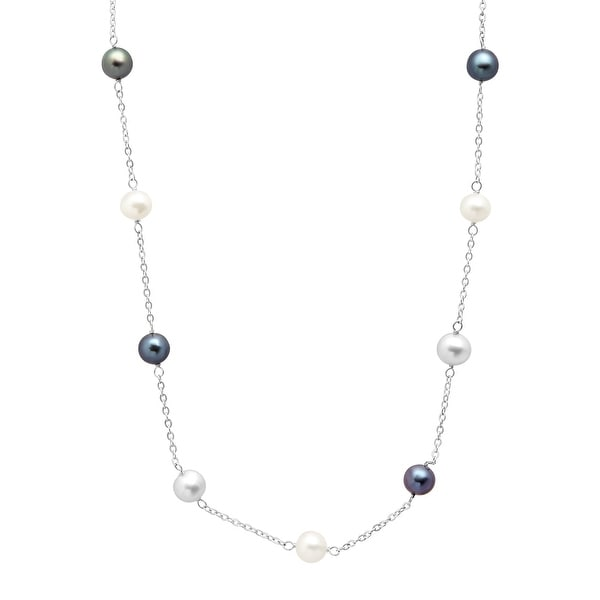 Grey, White & Black Freshwater Pearl Station Necklace in 14K White Gold