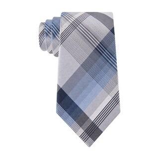 Geoffrey Beene Plaid Instinct Classic Silk Blend Necktie Light Blue and Grey Tie