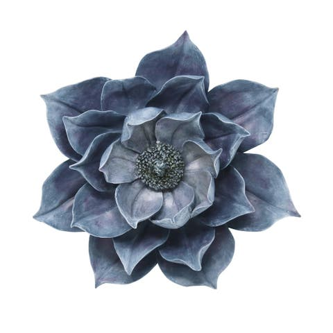Sagebrook Home 13007-03 Decorative Resin Lotus Wall Flower, Blue Polyresin, 14.25 x 13 x 4.75 Inches