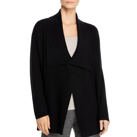 Eileen Fisher Womens Cardigan Sweater Wool Drapey - Black