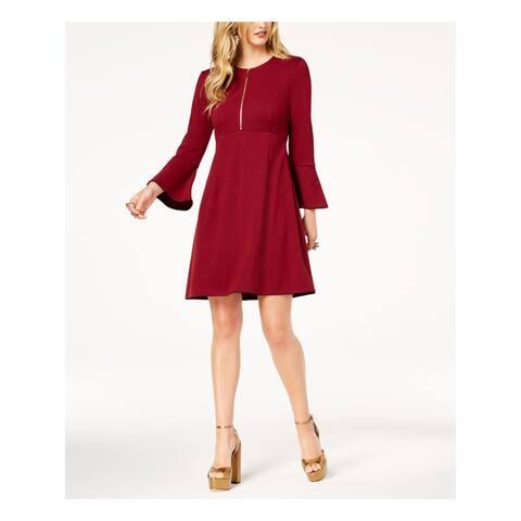 RACHEL ZOE Burgundy Bell Sleeve Above The Knee A-Line Dress Size 2
