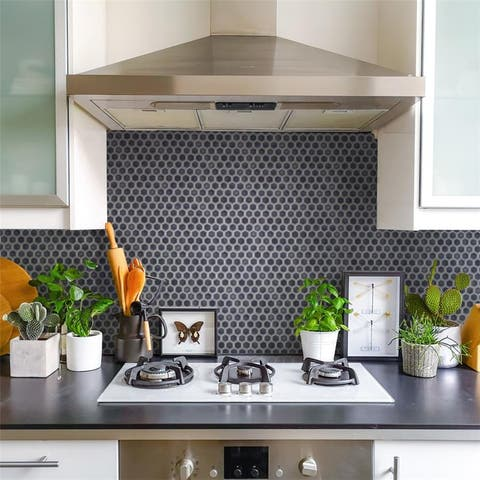 SomerTile Hudson 1 in. Hex Imperial Grey 13-1/4 in. x 11-7/8 in. x 5mm Porcelain Mosaic Tile