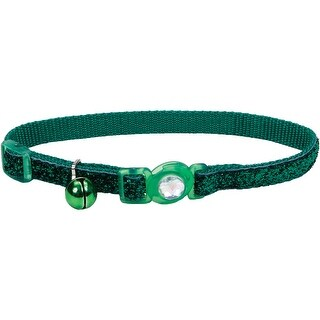 Safe Cat Jeweled Buckle Breakaway Collar W/Glitter Overlay-Green