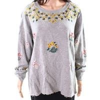 Lucky Brand Gray Women 1X Plus Floral Embroidered Crewneck Sweater