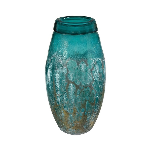 """16"""" Cyan Vourvoulos Vessel Vase with Tierra Emerald Finish - N/A"""