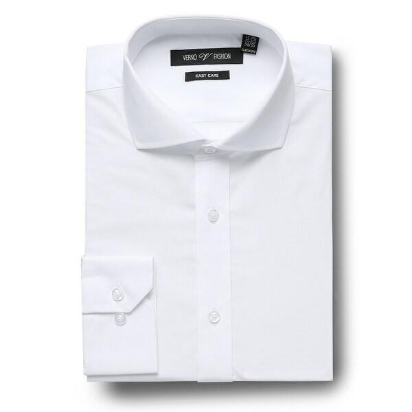 Men's Regular Fit Cutaway Collar Travel Easy-Care Cotton Dress Shirt