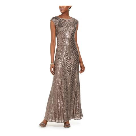 NIGHTWAY Beige Cap Sleeve Full-Length Dress 4