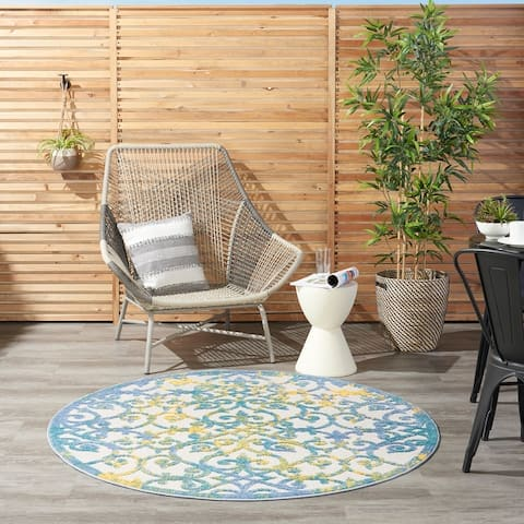 Nourison Aloha Transitional Indoor/Outdoor Damask Rug