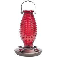 Perky-Pet 8130-2 Hobnail Vintage Glass Hummingbird Feeder, Red