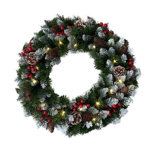 ALEKO Decorative Holidays Christmas Pre Lit Artificial Wreath
