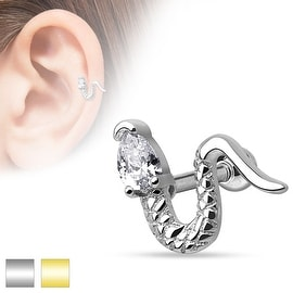 Snake with Triangle CZ Head 316L Surgical Steel Cartilage/Tragus Barbell (Sold Ind.)
