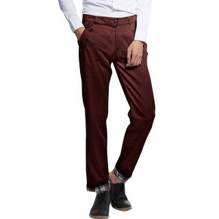 Mens Plaid Roll up Straight Long Pants Trousers Trendy