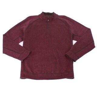 Tommy Bahama NEW Red Mens Large L 1/2 Zip Reversible Slub-Knit Sweater