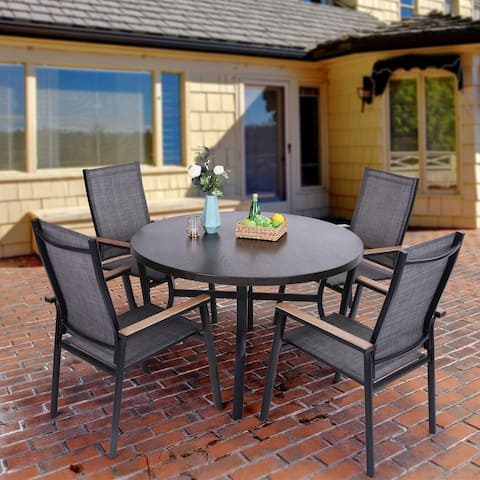 MFSTUDIO 5-Piece Outdoor Patio Dining Set, 1 Metal Round Table with a 1.97 Umbrella Hole & 4 Textilene Chairs