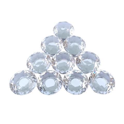 Clear Glass Cabinet Knobs Mushroom Head 1 in Proj. Set of 10