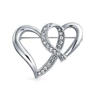 Bling Jewelry Open Ribbon Hearts Crystal Valentines Brooch Silver Plated