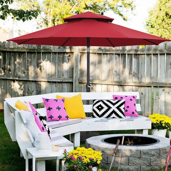 Ainfox 11ft 2 Tier Patio Umbrella 1.9 Inch Pole with Crank Without Base. Opens flyout.