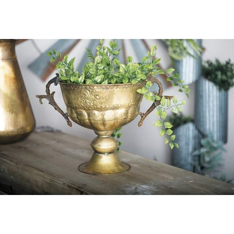 Traditional 11 x 19 Inch Distressed Iron Trophy Cup Planter