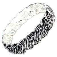 Antique Silver Plated Braided Wheat Brass Bangle - Inside Circumference: 6""